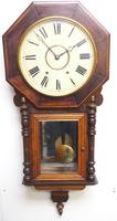 Impressive Victorian American Drop Dial Wall Clock 8 Day Movement Inlaid Case (13 of 14)