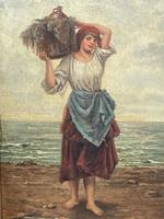 """Pair of Victorian Oil Paintings """"Cockle Pickers"""" Female Figures on Beach Shoreline (5 of 33)"""