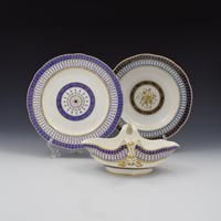 18th Century Sevres Porcelain Sauciere A Deux Sauceboat & Plate Pois Bleu 1788 (2 of 20)