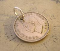 Vintage Pocket Watch Chain Fob 1951 Lucky Silver Sixpence Old 6d Coin Fob (6 of 8)