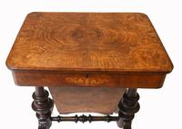 Victorian Sewing Table Antique Burr Walnut 1860 Side Tables (5 of 11)