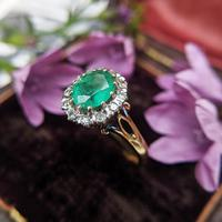 Vintage 18ct Gold Emerald & Diamond Cluster Ring (2 of 11)