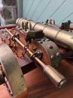Antique Oak & Brass Miniature Cannon (10 of 10)