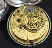 Good Antique Silver Pair Case Pocket Watch Fusee Verge Escapement Key Wind Enamel Dial Robinson London (7 of 11)