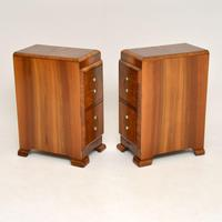 Pair of Art Deco Figured Walnut Bedside Chests (4 of 10)