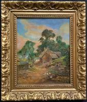 Original 19th Century British Farmland Countryside Landscape Oil Painting (11 of 11)