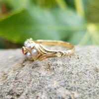 Antique 18ct Yellow Gold Garnet & Pearl Locket Ring (7 of 10)