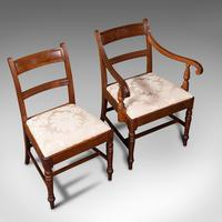 Set of 4, Antique Dining Chairs, English, Mahogany, Pair Of Carvers, Regency (9 of 12)