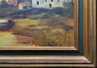 'the Estuary At Sundown' A Large Superb Original Vintage Seascape Oil Painting (11 of 12)