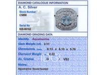 2.11ct Aquamarine & 2.22ct Diamond, 18ct White Gold Dress Ring - Vintage c.1950 (6 of 9)