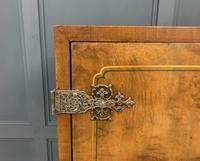 Floral Painted Burr Walnut Cabinet on Stand (14 of 15)