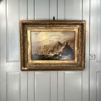 Antique Victorian Large Marine Seascape Oil Painting of Sailing Boats