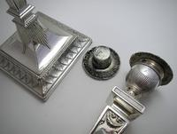 """Antique Victorian 10"""" tall ADAM STYLE Silver Plated English Candlesticks Candle Holders (8 of 9)"""