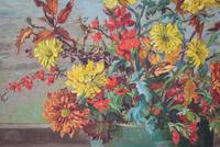 Large Mid Century Oil Painting Still Life of Chrysanthemums (5 of 10)