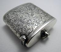 Beautiful Antique Victorian 1895 Solid Sterling Silver English CHESTER Vesta Case Match Box (7 of 9)