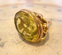 Antique Pocket Watch Chain Fob 1910 Art Nouveau Big Rose Gilt & Green Stone Fob (3 of 9)