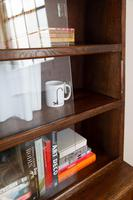 1930s Vintage Oak Glazed Bookcase Cabinet (12 of 16)