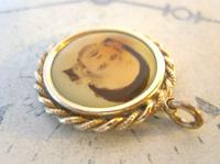 Edwardian Pocket Watch Chain Photograph Fob 1900s Antique Gilt Sepia Fob (7 of 8)