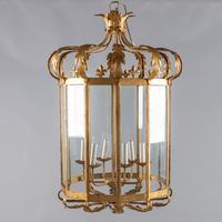Large French Gilt Metal & Glass Six Light Lantern