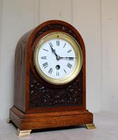Edwardian Oak Arch Top Mantel Clock (12 of 12)