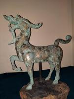 Chinese Archaistic Silver / Gold Coloured Inlaid Bronze Mythical Qilin (5 of 15)