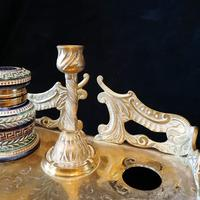 Antique Brass and Porcelain Double Inkwell with Candlestick (9 of 10)