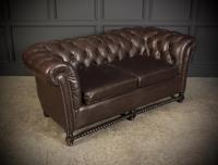 Dark Brown Leather Chesterfield Sofa (6 of 9)