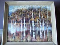 Lawrence Hill: oil painting on board of Silver Birches in Epping Forest