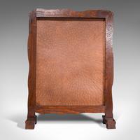 Antique Embossed Fire Screen, Oak, Leather, Fireside, Arts & Crafts, Edwardian (6 of 12)