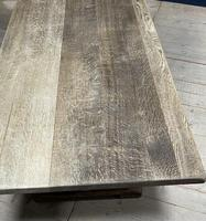 Larger French Bleached Oak Trestle Farmhouse Dining Table (13 of 21)