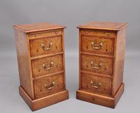 Pair of Mid 20th Century Burr Oak Bedside Chests (2 of 11)