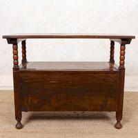 Oak Monks Bench Settle Carved Folding Hall Arts & Crafts (10 of 12)
