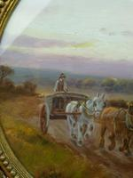 Antique Oil on Board Original Painting by G Meville - Horse & Carriage c.1880 (2 of 12)