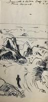 Original pen and ink drawing 'American aircraft landing at Prestwick aerodrome c.1944 by Richard Walker 1925-2009 (2 of 2)