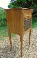 Antique French Fruitwood Bedside Cabinet Leather Book Fronts (4 of 8)