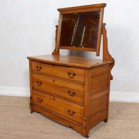 Satinwood Dressing Table Mirrored Arts & Crafts (4 of 10)