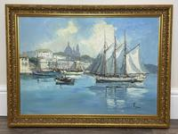 Dutch Oil Painting Fishing Harbour Channel Coast Signed Bernhard Laarhoven (4 of 34)
