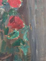 Large Rustic 19th Century French Impressionist Still Life Floral Oil Painting - Minor TLC (8 of 12)