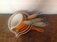 Set of 6 Le Creuset Volcanic Orange 1970s Pans Frying Pan Mil Pan (2 of 8)