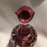 Beautiful Cranberry Glass & Silver Overlay Scent Bottle c.1900 (2 of 5)