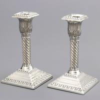 Good Pair of Silver Candlesticks by Walker & Hall London 1895 (6 of 11)