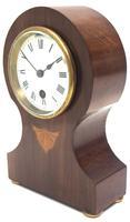 Fine Mahogany Edwardian Lancet Clock Burr Walnut Inlay Timepiece Mantel Clock (2 of 9)