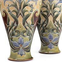 Pair of Tall Doulton Lambeth Art Nouveau Baluster Vases by Eliza Simmance c.1895 (4 of 12)