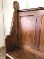 Antique Victorian Pitch Pine Curved Back Pew or Settle (4 of 16)