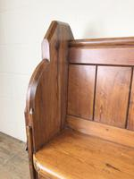 Antique Pitch Pine Chapel Pew with Shaped Sides (7 of 14)
