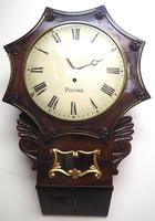 Rare Antique Drop Dial Wall Clock 8 Day Single Fusee Movement Signed J H Harvey Penzance (10 of 12)