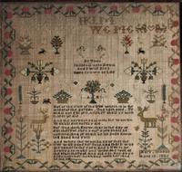 George IV English Adam & Eve Silk on Linen Needlework Sampler, 1825 in Original Frame (6 of 9)