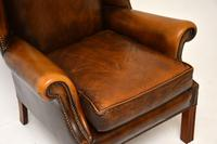 Antique Georgian Style Leather Wing Back Armchair (10 of 11)