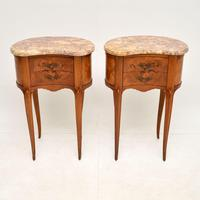Pair of Antique French Marble Top Kidney Bedside Tables (2 of 12)