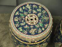 Pair of Chinese Qing Dynasty Painted Barrels / Seats (5 of 17)